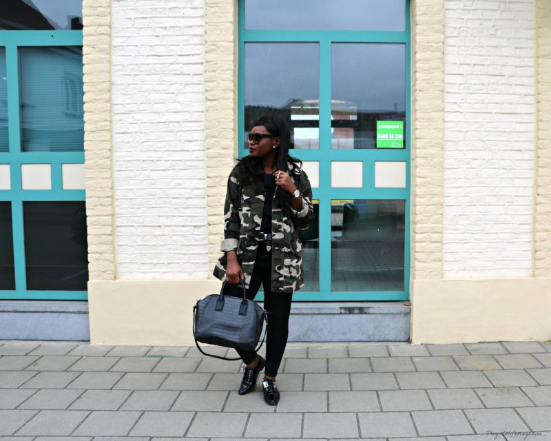 Camo Jacket & all black outfit