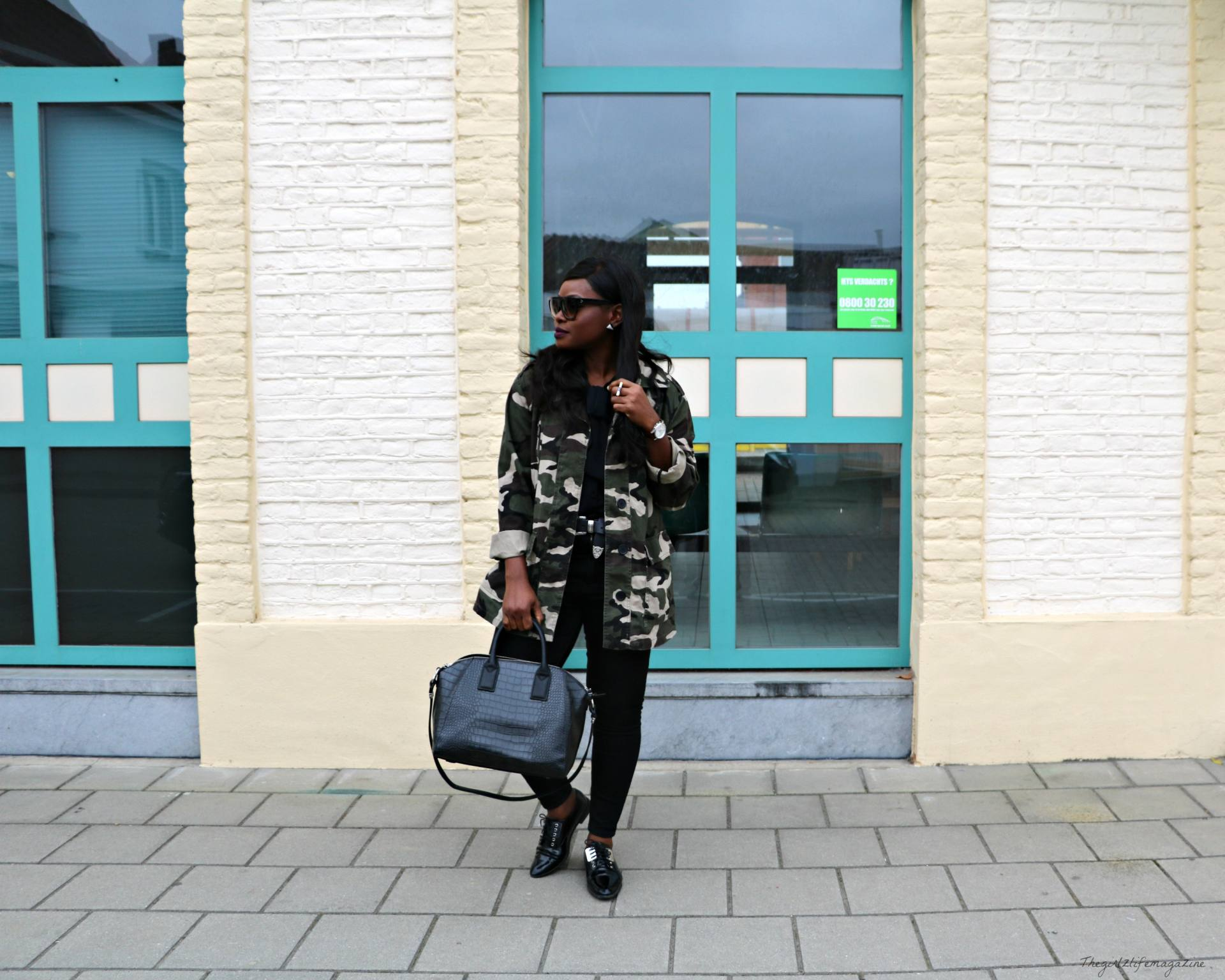 Camo Jacket and all black outfit